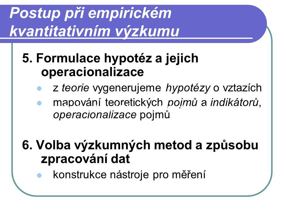 Postup při empirickém kvantitativním výzkumu 5. Formulace hypotéz a jejich operacionalizace z teorie vygenerujeme hypotézy o vztazích mapování teoreti