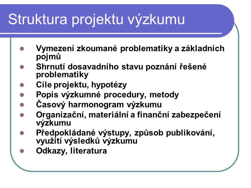 Struktura projektu výzkumu Vymezení zkoumané problematiky a základních pojmů Shrnutí dosavadního stavu poznání řešené problematiky Cíle projektu, hypo