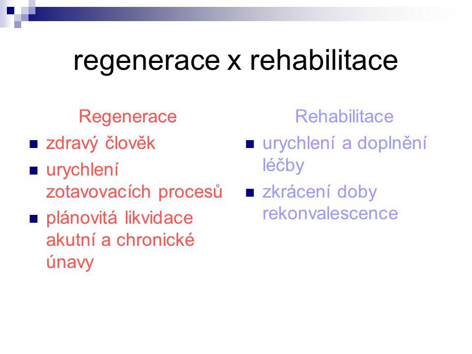 regenerace x rehabilitace Často záměna obou pojmů Používají obdobnou techniku / fyzikální a pohybová terapie / Neexistuje ostrá hranice