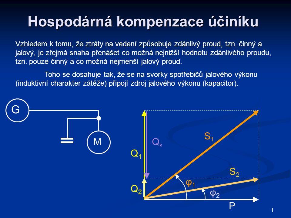 1 Hospodárná kompenzace účiníku Vzhledem k tomu, že ztráty na vedení způsobuje zdánlivý proud, tzn. činný a jalový, je zřejmá snaha přenášet co možná