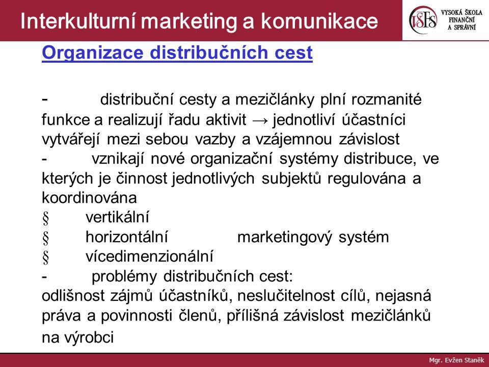Mgr. Evžen Staněk Interkulturní marketing a komunikace Typy distribučních mezičlánků: - prostředníci - zprostředkovatelé - obchodní zástupci - podpůrn