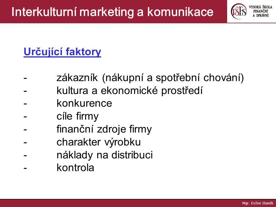Mgr. Evžen Staněk Interkulturní marketing a komunikace 3. Výhradní (exklusivní) distribuce - velmi omezený počet prodejních míst, jediný distributor -