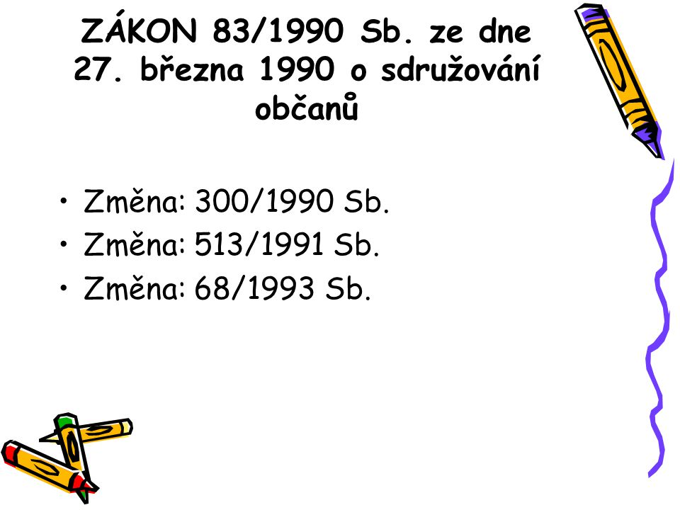 ZÁKON 83/1990 Sb. ze dne 27. března 1990 o sdružování občanů Změna: 300/1990 Sb.