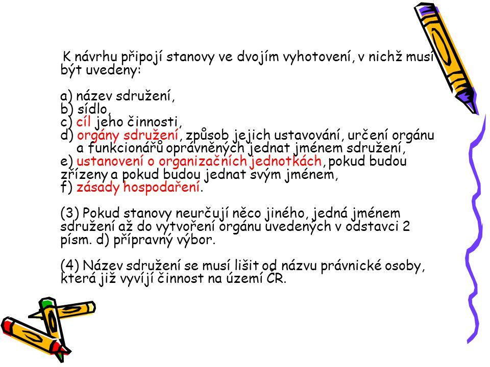 """§ 7 (1) Návrh na registraci se podává ministerstvu vnitra České republiky (dále jen """"ministerstvo )."""