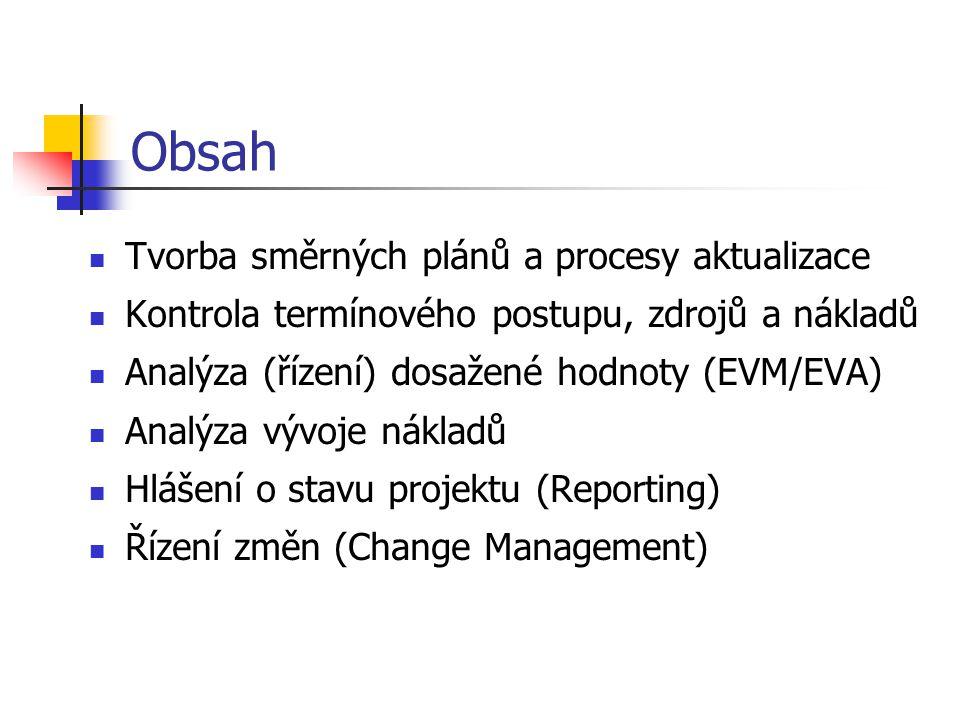 Obsah Tvorba směrných plánů a procesy aktualizace Kontrola termínového postupu, zdrojů a nákladů Analýza (řízení) dosažené hodnoty (EVM/EVA) Analýza vývoje nákladů Hlášení o stavu projektu (Reporting) Řízení změn (Change Management)