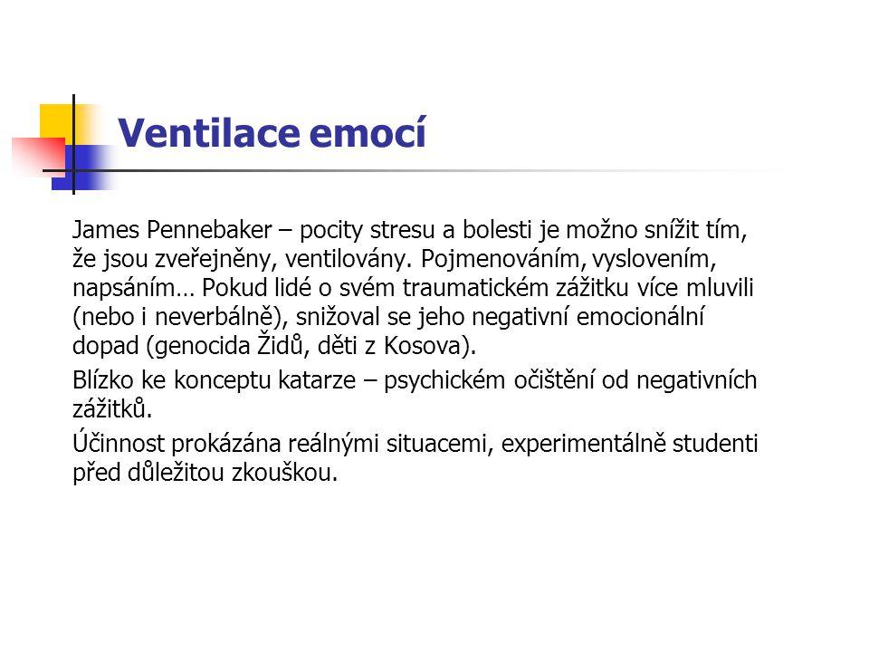 Ventilace emocí James Pennebaker – pocity stresu a bolesti je možno snížit tím, že jsou zveřejněny, ventilovány. Pojmenováním, vyslovením, napsáním… P