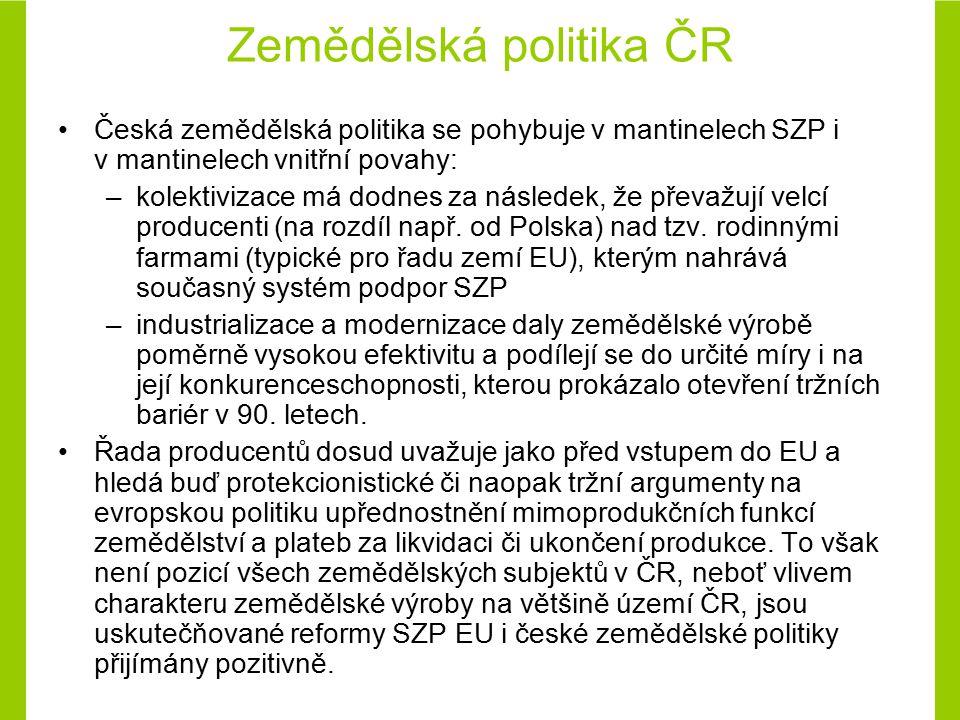 Koncepce agrární politiky ČR na období po vstupu do EU (2004 – 2013) Koncepce reaguje na potřebu odstartování zásadní přeorientace zemědělské politiky ČR v souladu s celosvětovými a evropskými trendy a s naléhavostí domácích problémů.