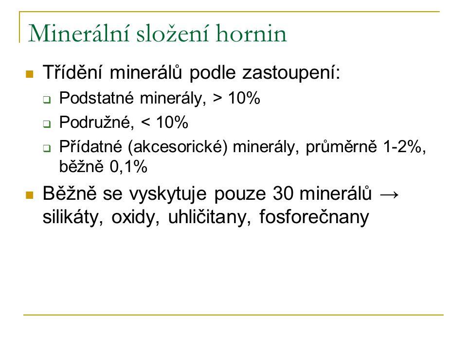 Minerální složení hornin Třídění minerálů podle zastoupení:  Podstatné minerály, > 10%  Podružné, < 10%  Přídatné (akcesorické) minerály, průměrně