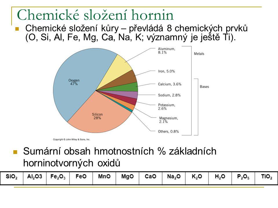 Chemické složení hornin AlCa Chemické složení kůry – převládá 8 chemických prvků (O, Si, Al, Fe, Mg, Ca, Na, K; významný je ještě Ti). SiO 2 Al 2 O3 F