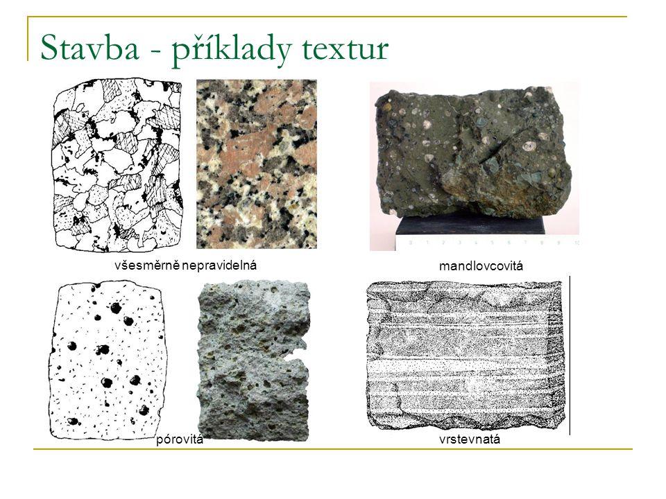 Stavba - příklady textur všesměrně nepravidelná pórovitá mandlovcovitá vrstevnatá