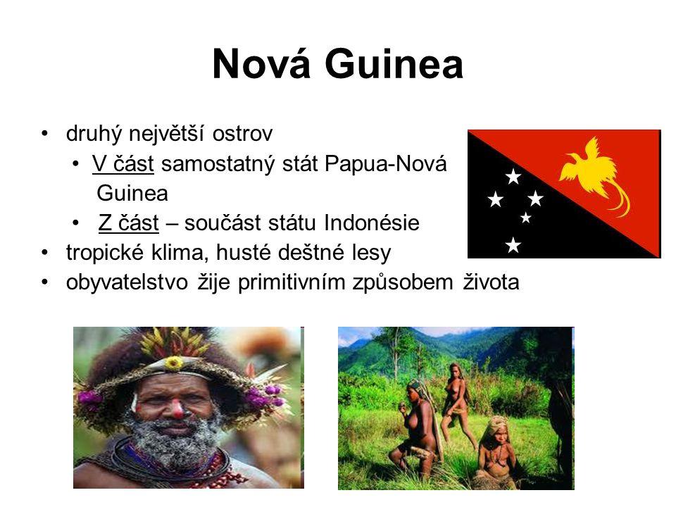 Nová Guinea druhý největší ostrov V část samostatný stát Papua-Nová Guinea Z část – součást státu Indonésie tropické klima, husté deštné lesy obyvatelstvo žije primitivním způsobem života