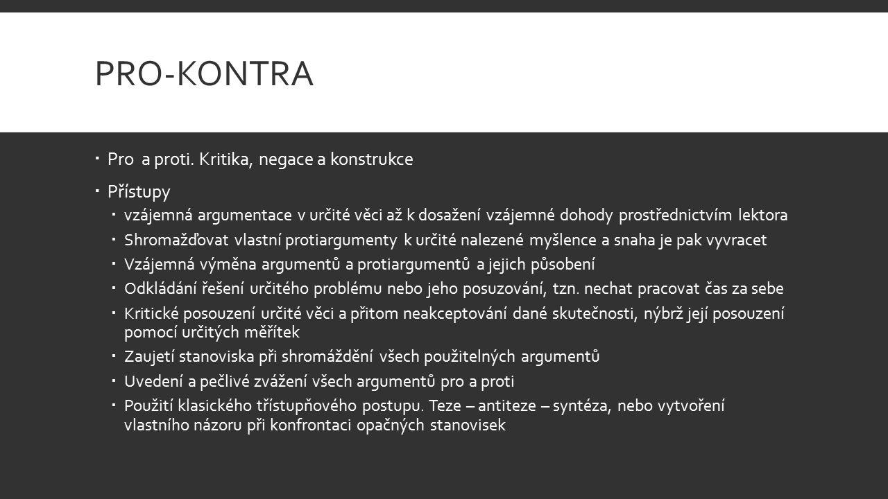 PRO-KONTRA  Pro a proti.