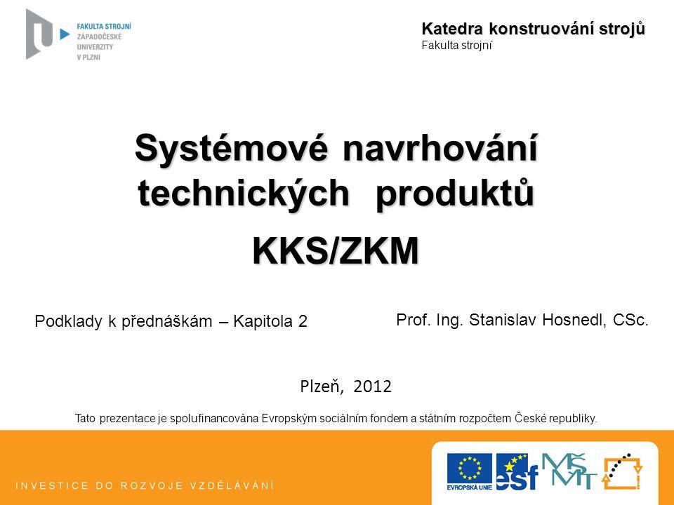 Systémové navrhování technických produktů KKS/ZKM Katedra konstruování strojů Fakulta strojní Tato prezentace je spolufinancována Evropským sociálním