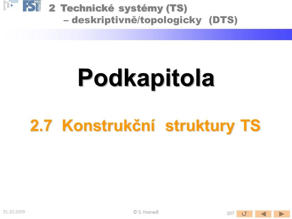 Podkapitola 31.10.2009 © S. Hosnedl 2.7 Konstrukční struktury TS 107  2Technické systémy (TS) 2Technické systémy (TS) – deskriptivně/topologicky (DTS