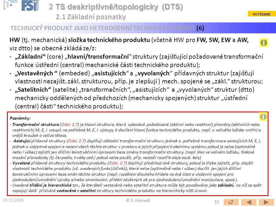© S. Hosnedl TS deskriptivně/topologicky (DTS) 2 TS deskriptivně/topologicky (DTS) 2.1 Základní poznatky Poznámky: -Transformační struktura (Odst. 2.7