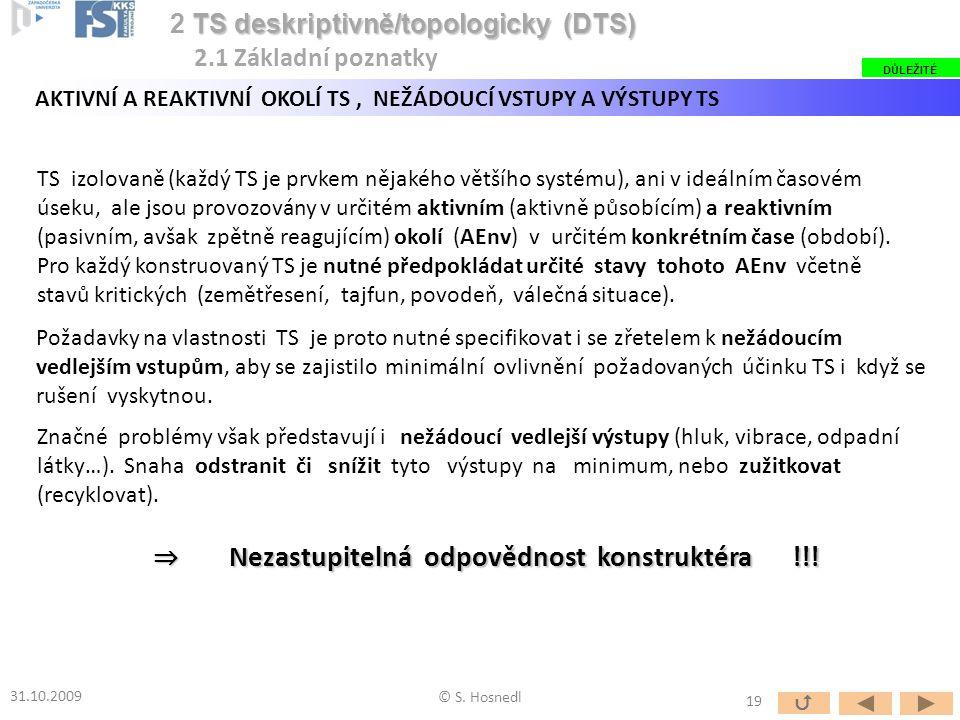 TS izolovaně (každý TS je prvkem nějakého většího systému), ani v ideálním časovém úseku, ale jsou provozovány v určitém aktivním (aktivně působícím)
