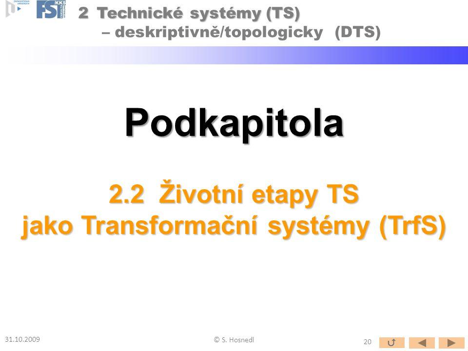 Podkapitola 2.2 Životní etapy TS jako Transformační systémy (TrfS) 31.10.2009 © S. Hosnedl 20  2Technické systémy (TS) 2Technické systémy (TS) – desk