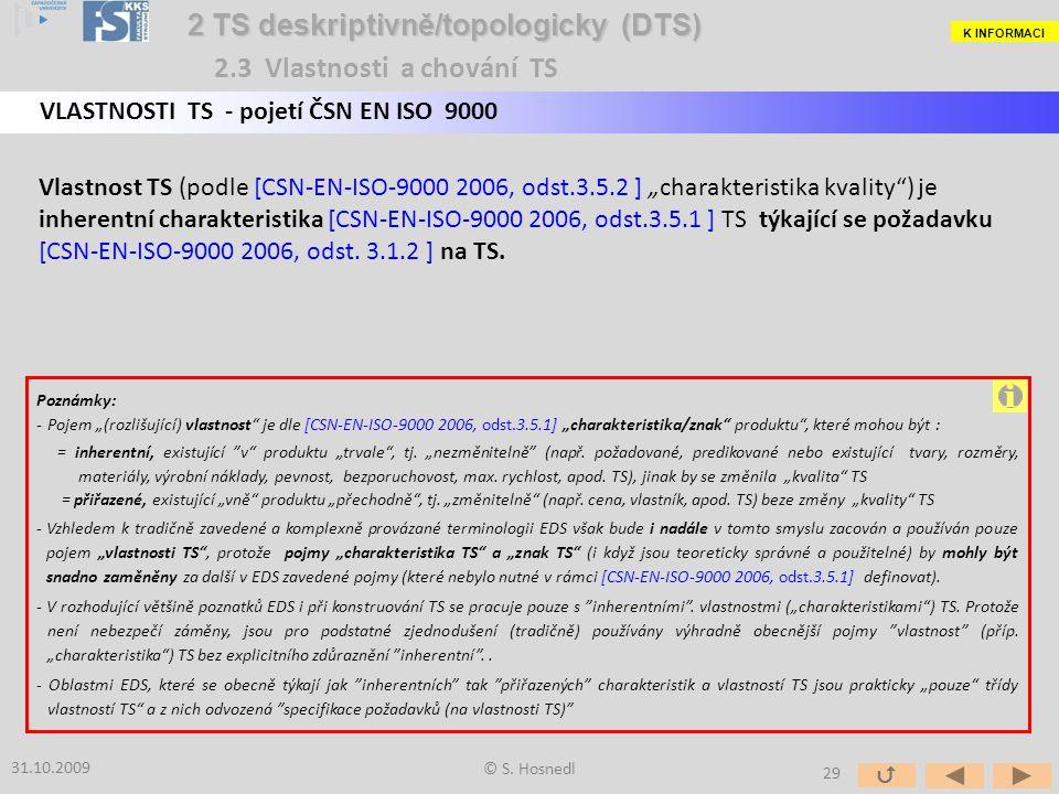 """Vlastnost TS (podle [CSN-EN-ISO-9000 2006, odst.3.5.2 ] """"charakteristika kvality"""") je inherentní charakteristika [CSN-EN-ISO-9000 2006, odst.3.5.1 ] T"""