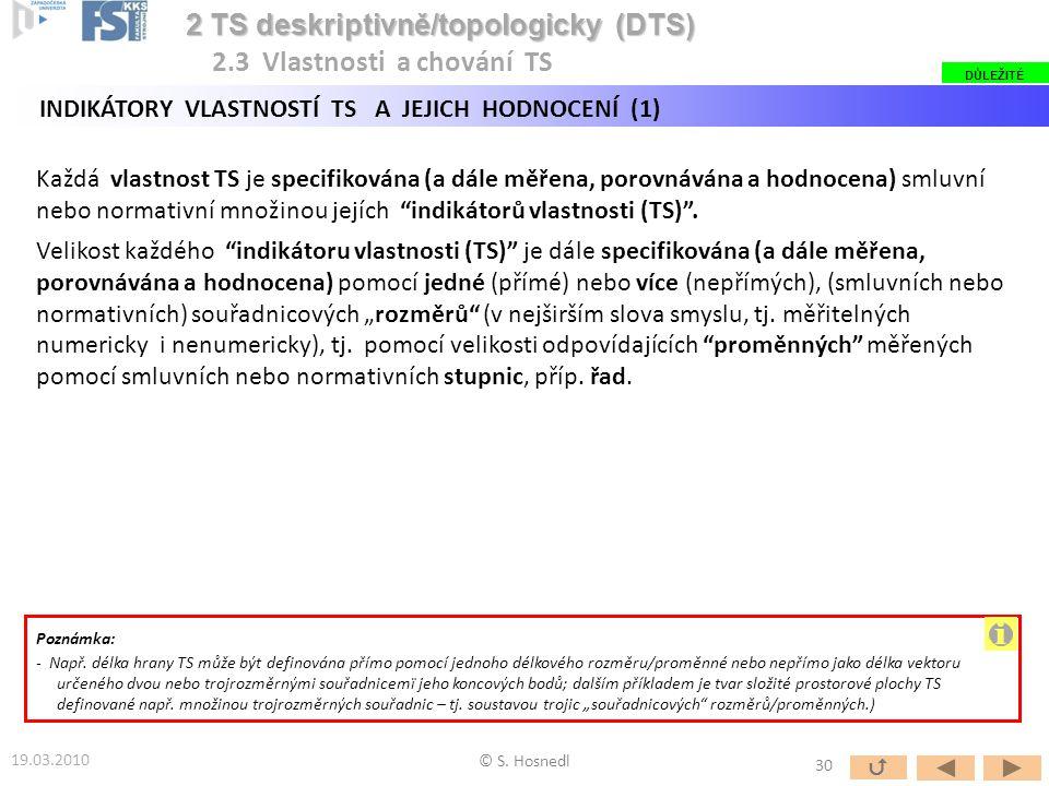 """Každá vlastnost TS je specifikována (a dále měřena, porovnávána a hodnocena) smluvní nebo normativní množinou jejích """"indikátorů vlastnosti (TS)"""". Vel"""