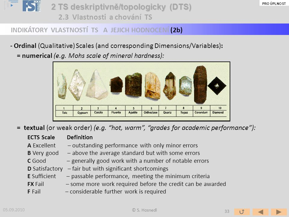 - Ordinal (Qualitative) Scales (and corresponding Dimensions/Variables): = numerical (e.g. Mohs scale of mineral hardness): = textual (or weak order)