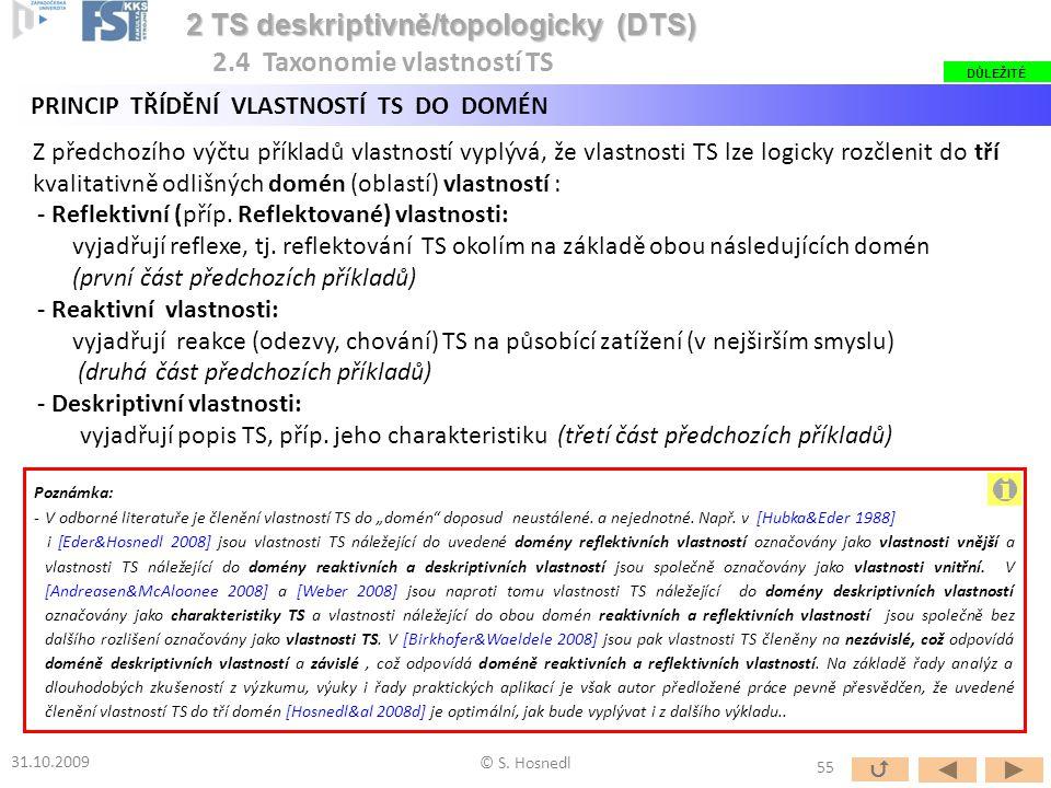 Z předchozího výčtu příkladů vlastností vyplývá, že vlastnosti TS lze logicky rozčlenit do tří kvalitativně odlišných domén (oblastí) vlastností : - R