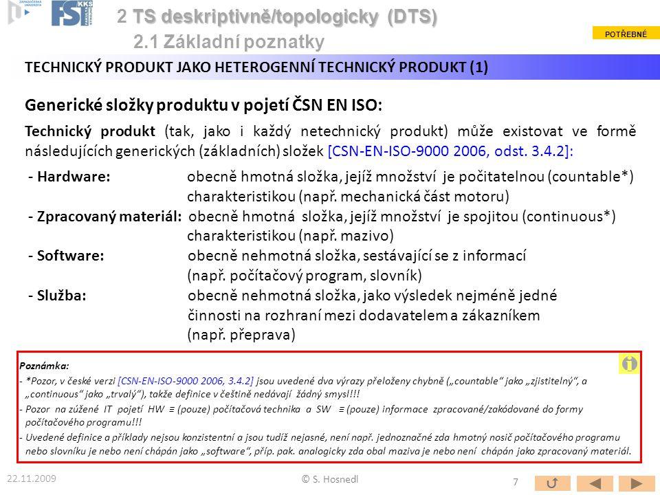 Generické složky produktu v pojetí ČSN EN ISO: Technický produkt (tak, jako i každý netechnický produkt) může existovat ve formě následujících generic