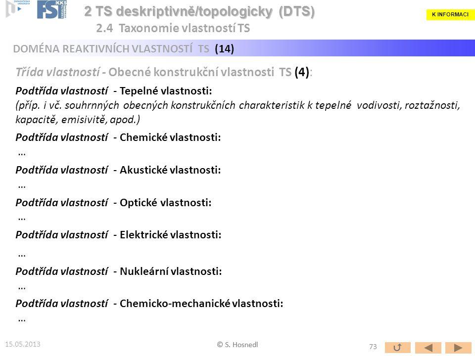 Třída vlastností - Obecné konstrukční vlastnosti TS (4): Podtřída vlastností - Tepelné vlastnosti: (příp. i vč. souhrnných obecných konstrukčních char
