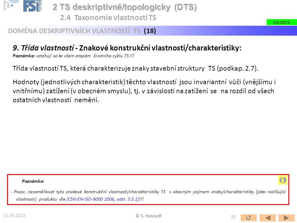 9. Třída vlastností - Znakové konstrukční vlastnosti/charakteristiky: Poznámka: vztahují se ke všem etapám životního cyklu TS !!! Třída vlastností TS,