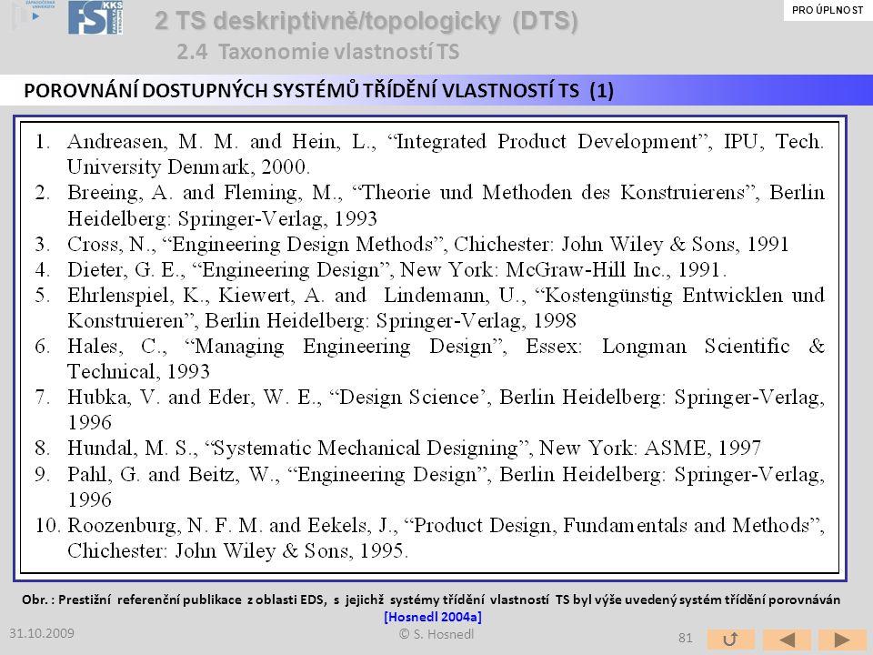 © S. Hosnedl 2 TS deskriptivně/topologicky (DTS) 2 TS deskriptivně/topologicky (DTS) POROVNÁNÍ DOSTUPNÝCH SYSTÉMŮ TŘÍDĚNÍ VLASTNOSTÍ TS (1) 31.10.2009