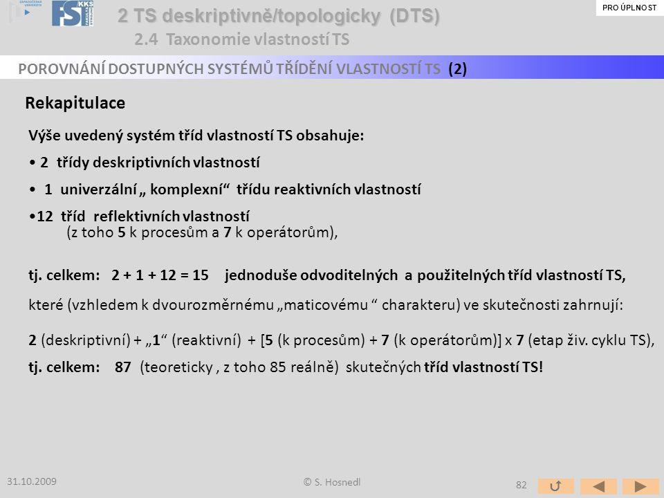"""Rekapitulace Výše uvedený systém tříd vlastností TS obsahuje: 2 třídy deskriptivních vlastností 1 univerzální """" komplexní"""" třídu reaktivních vlastnost"""
