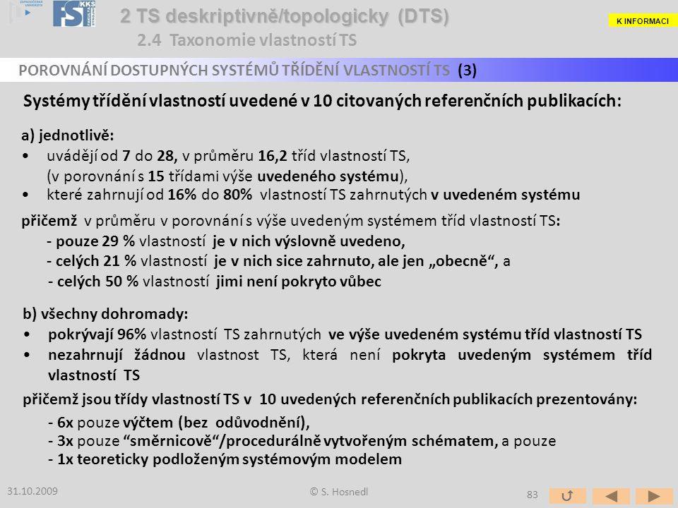 a) jednotlivě: uvádějí od 7 do 28, v průměru 16,2 tříd vlastností TS, (v porovnání s 15 třídami výše uvedeného systému), které zahrnují od 16% do 80%