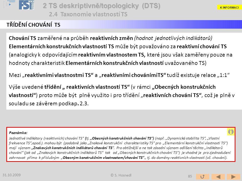 Chování TS zaměřené na průběh reaktivních změn (hodnot jednotlivých indikátorů) Elementárních konstrukčních vlastností TS může být považováno za reakt