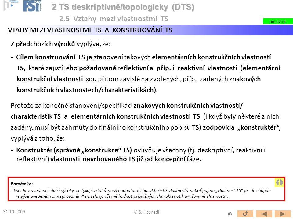 Z předchozích výroků vyplývá, že: - Cílem konstruování TS je stanovení takových elementárních konstrukčních vlastností TS, které zajistí jeho požadova