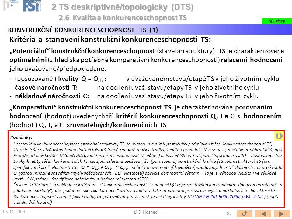 """Kritéria a stanovení konstrukční konkurenceschopnosti TS: """"Potenciální"""" konstrukční konkurenceschopnost (stavební struktury) TS je charakterizována op"""