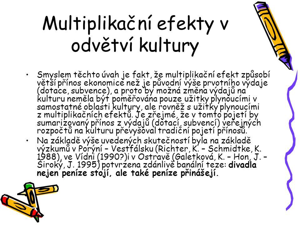 Multiplikační efekty v odvětví kultury Smyslem těchto úvah je fakt, že multiplikační efekt způsobí větší přínos ekonomice než je původní výše prvotníh