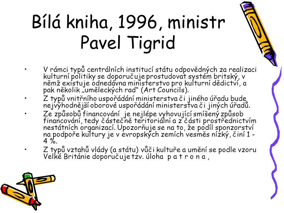 Bílá kniha, 1996, ministr Pavel Tigrid V rámci typů centrálních institucí státu odpovědných za realizaci kulturní politiky se doporučuje prostudovat s