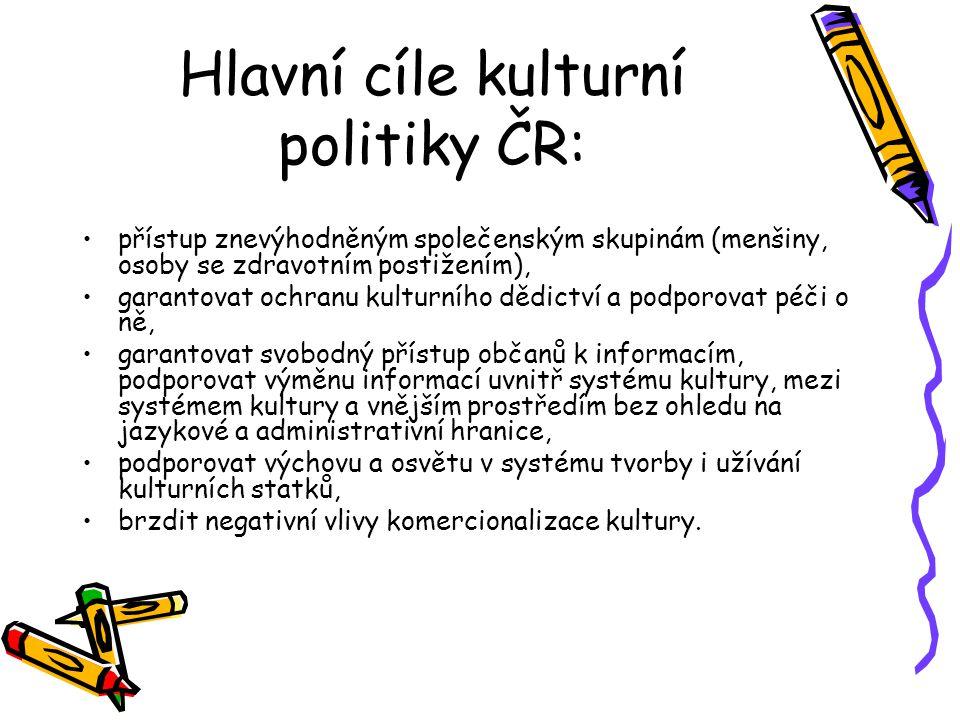 Hlavní cíle kulturní politiky ČR: přístup znevýhodněným společenským skupinám (menšiny, osoby se zdravotním postižením), garantovat ochranu kulturního