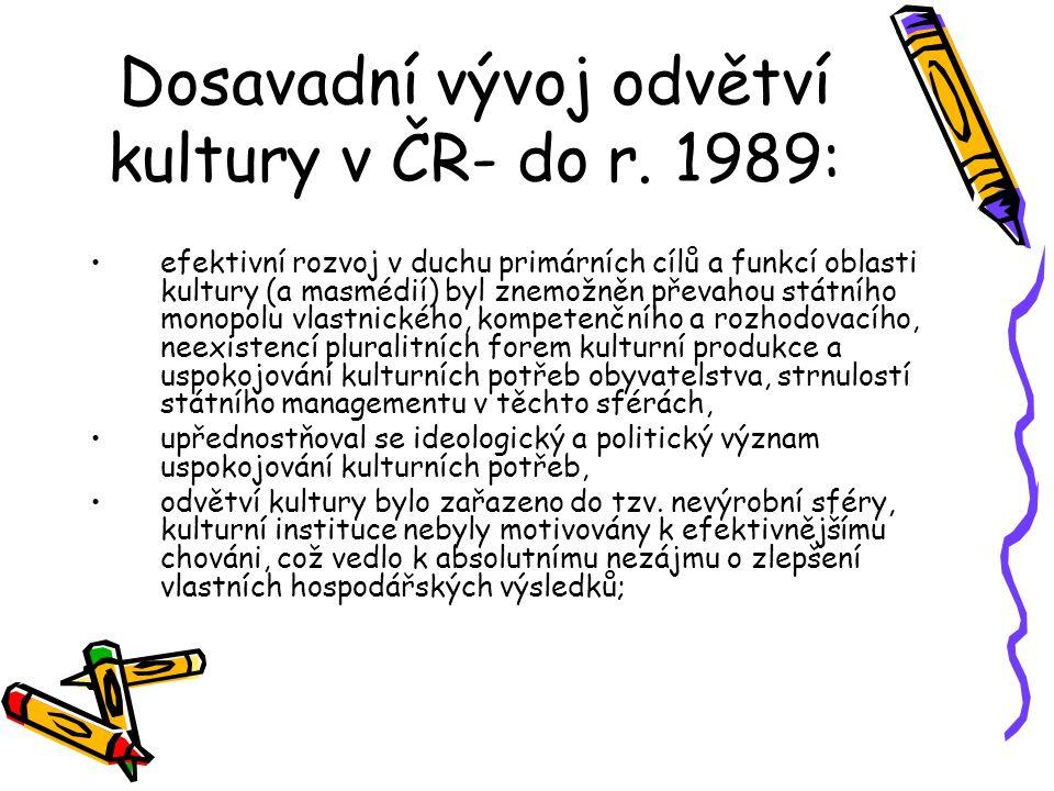 Dosavadní vývoj odvětví kultury v ČR- do r. 1989: efektivní rozvoj v duchu primárních cílů a funkcí oblasti kultury (a masmédií) byl znemožněn převaho