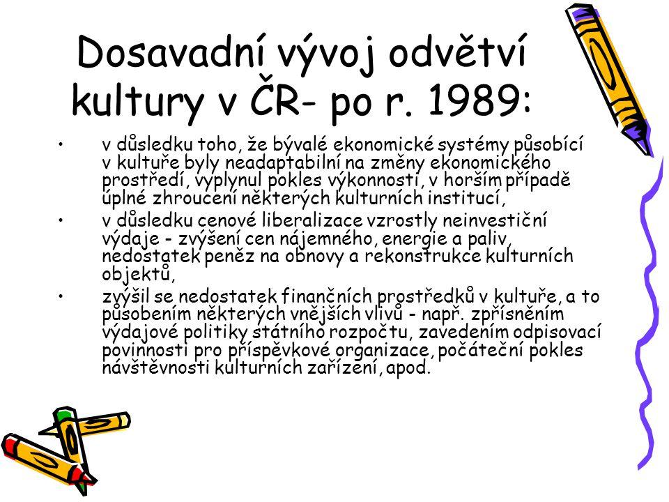 Dosavadní vývoj odvětví kultury v ČR- po r. 1989: v důsledku toho, že bývalé ekonomické systémy působící v kultuře byly neadaptabilní na změny ekonomi