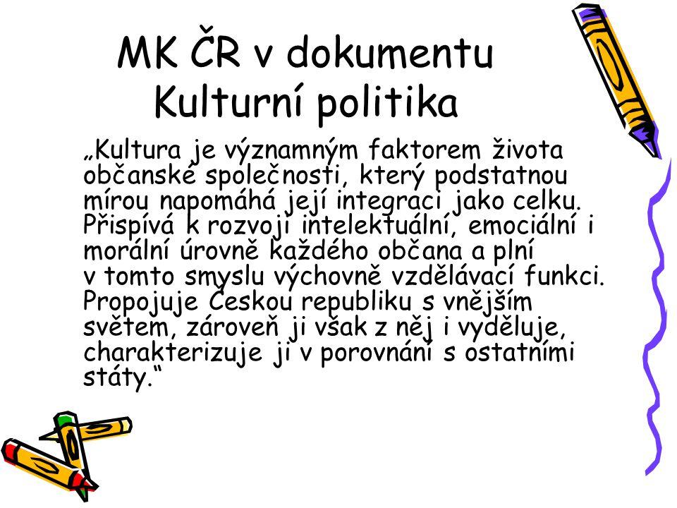 """MK ČR v dokumentu Kulturní politika """"Kultura je významným faktorem života občanské společnosti, který podstatnou mírou napomáhá její integraci jako celku."""