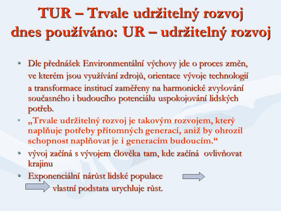 TUR – Trvale udržitelný rozvoj dnes používáno: UR – udržitelný rozvoj Dle přednášek Environmentální výchovy jde o proces změn,Dle přednášek Environmen