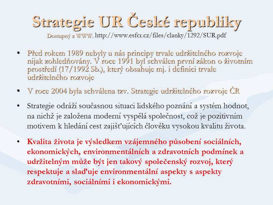 Strategie UR České republiky Dostupný z WWW. Strategie UR České republiky Dostupný z WWW. http://www.esfcr.cz/files/clanky/1292/SUR.pdf Před rokem 198