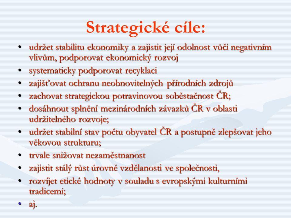 Strategické cíle: udržet stabilitu ekonomiky a zajistit její odolnost vůči negativním vlivům, podporovat ekonomický rozvojudržet stabilitu ekonomiky a
