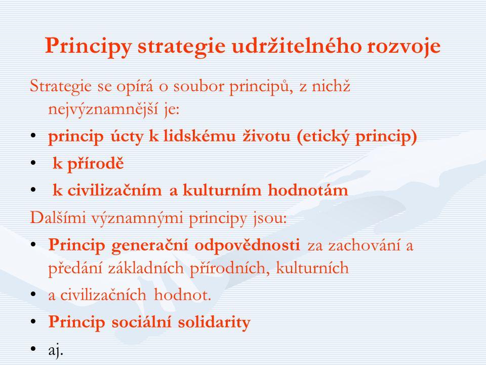 Principy strategie udržitelného rozvoje Strategie se opírá o soubor principů, z nichž nejvýznamnější je: princip úcty k lidskému životu (etický princi