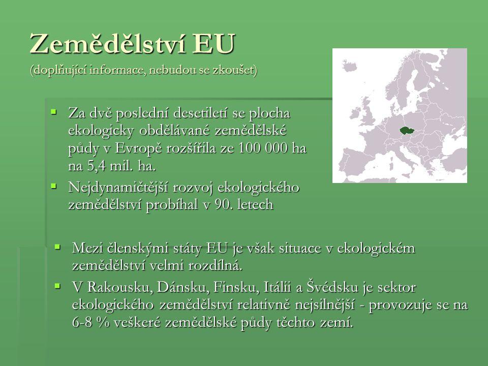 Zemědělství EU (doplňující informace, nebudou se zkoušet)  Za dvě poslední desetiletí se plocha ekologicky obdělávané zemědělské půdy v Evropě rozšíř