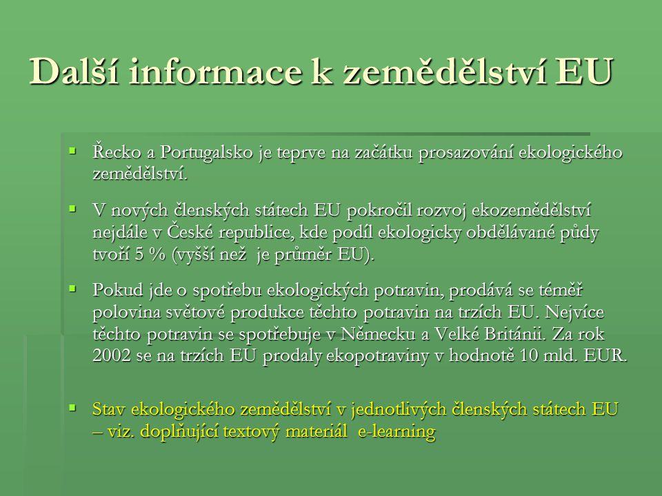 Další informace k zemědělství EU  Řecko a Portugalsko je teprve na začátku prosazování ekologického zemědělství.  V nových členských státech EU pokr