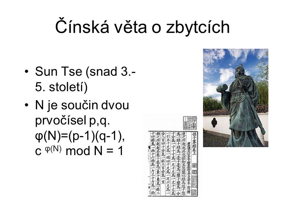 Čínská věta o zbytcích Sun Tse (snad 3.- 5. století) N je součin dvou prvočísel p,q.
