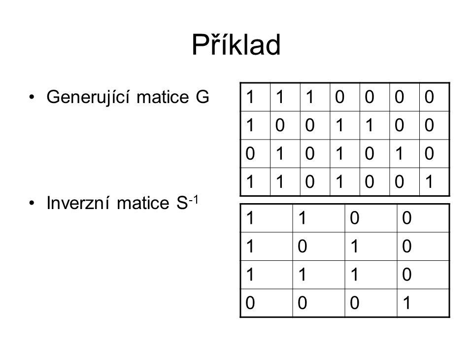Příklad Generující matice G Inverzní matice S -1 1110000 1001100 0101010 1101001 1100 1010 1110 0001