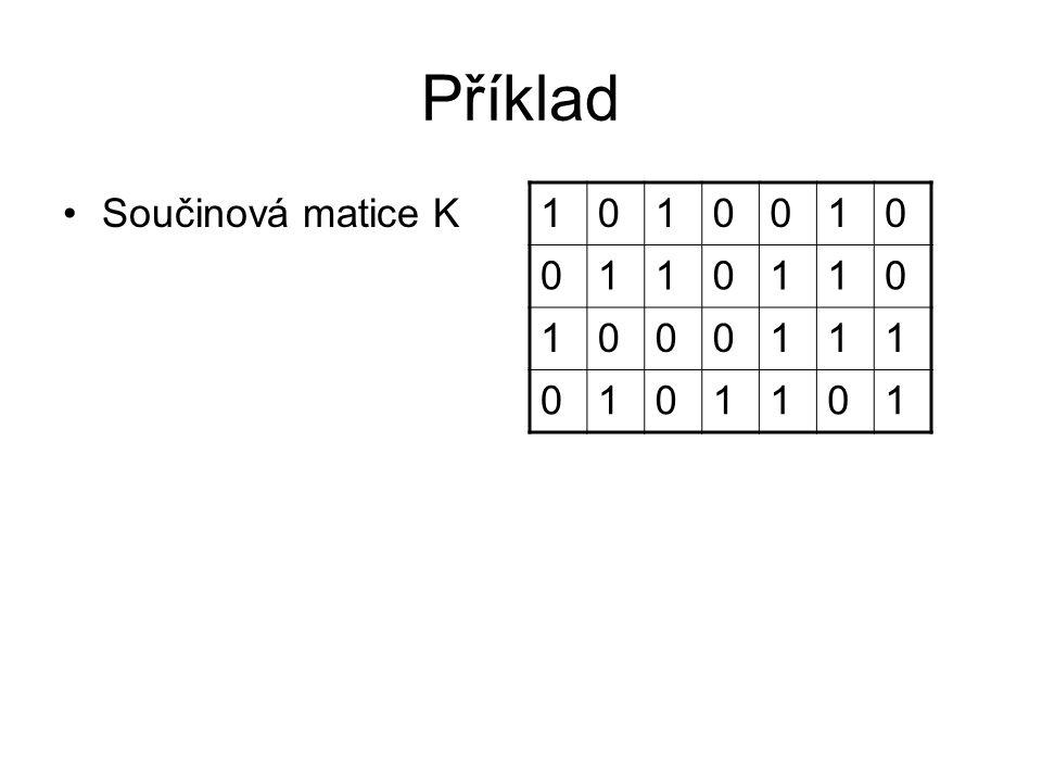 Příklad Součinová matice K 1010010 0110110 1000111 0101101