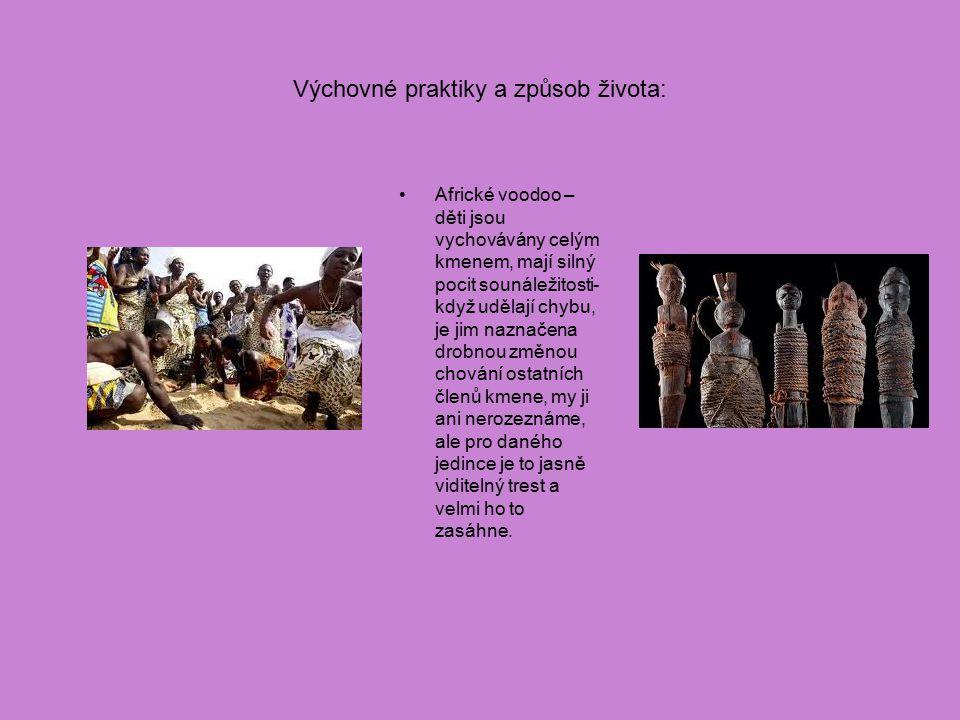 Výchovné praktiky a způsob života: Africké voodoo – děti jsou vychovávány celým kmenem, mají silný pocit sounáležitosti- když udělají chybu, je jim na